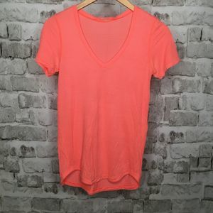 Lululemon Top Short Sleeve Bright Coral